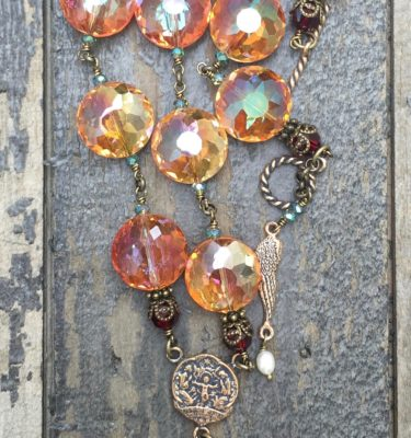 Apricot and Aqua with Garnet Crystal Necklace - 14mm