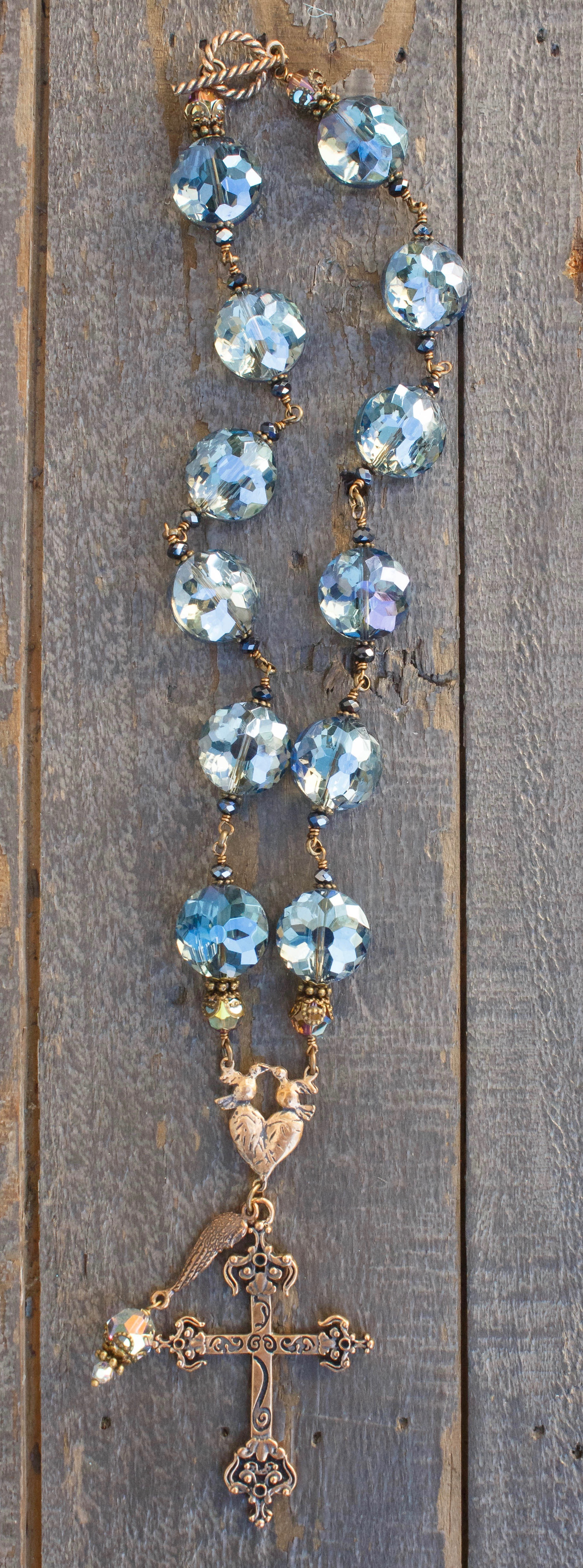 Blue and Charcoal with Clear Crystal Necklace – 18mm