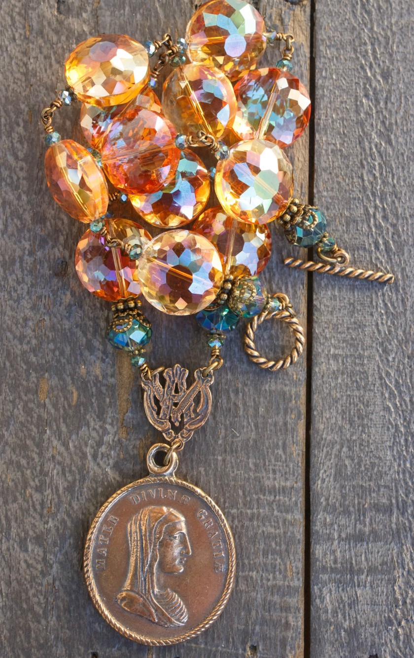 Apricot and Aqua Crystal Necklace – Ave Maria