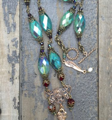 Aqua with Garnet Crystal Necklace – Our Blessed Mother Mary -14x20mm
