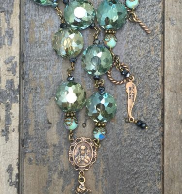 Olive and Charcoal with Turquoise Opal Crystal Necklace – 14mm