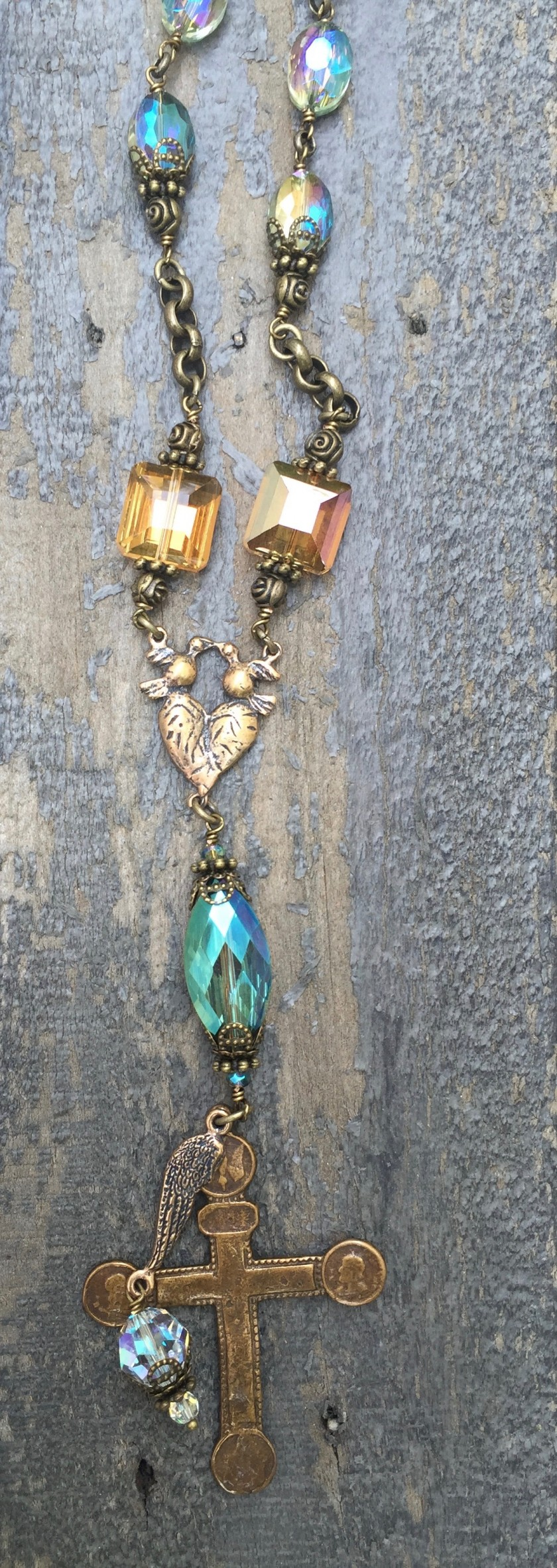 Apricot and Aqua with Clear Crystal Necklace – 12mm