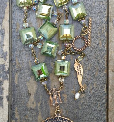 Olive and Clear Crystal Necklace – 12mm