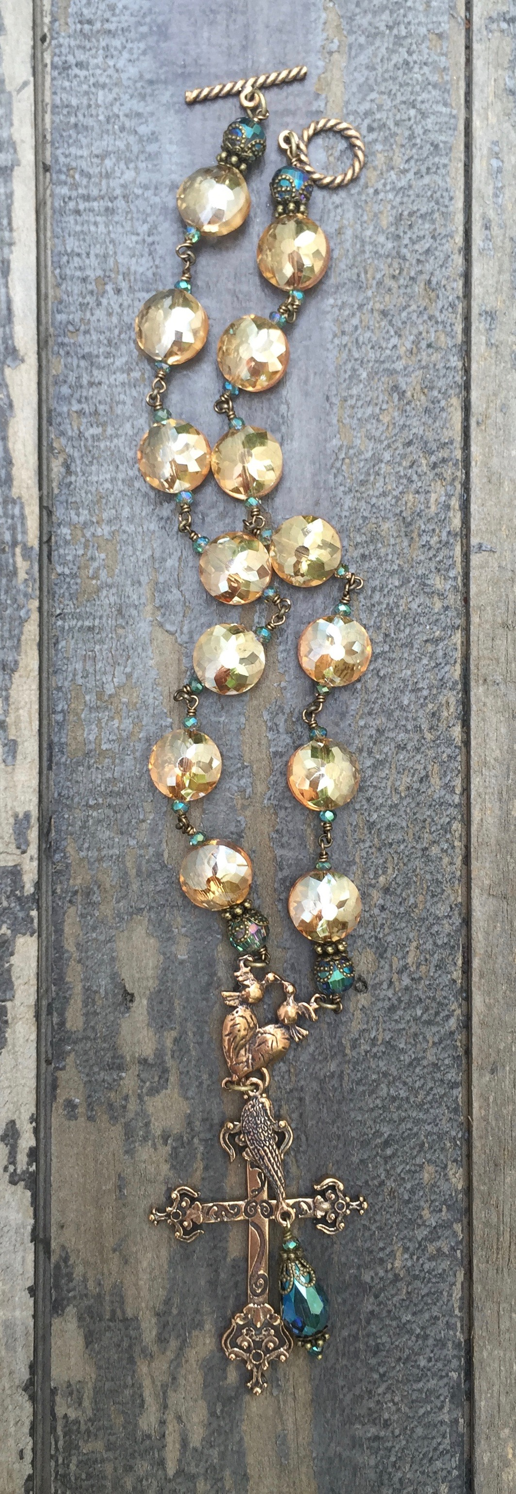 Apricot and Aqua Crystal Necklace – 12mm