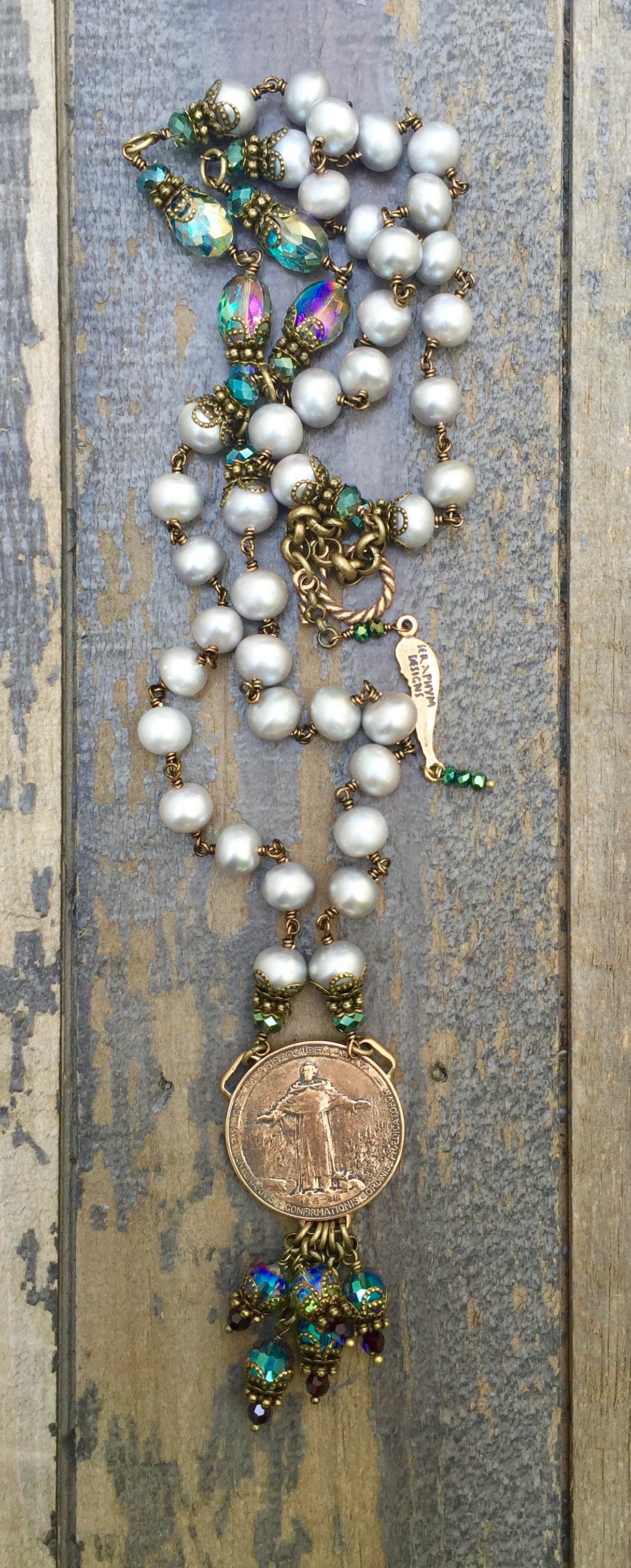 Cream Fresh Water Pearl with Aqua Crystal Necklace – St Francis of Assisi