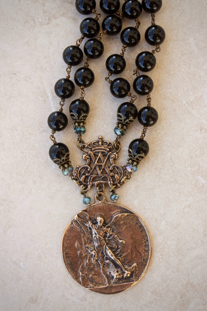 Black Onyx Natural Stone with Aqua Crystal Necklace – 10mm
