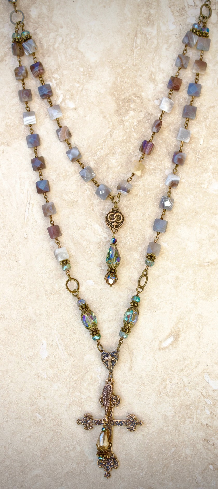 Natural Botswana Agates with Aqua Crystal Necklace – 10mm