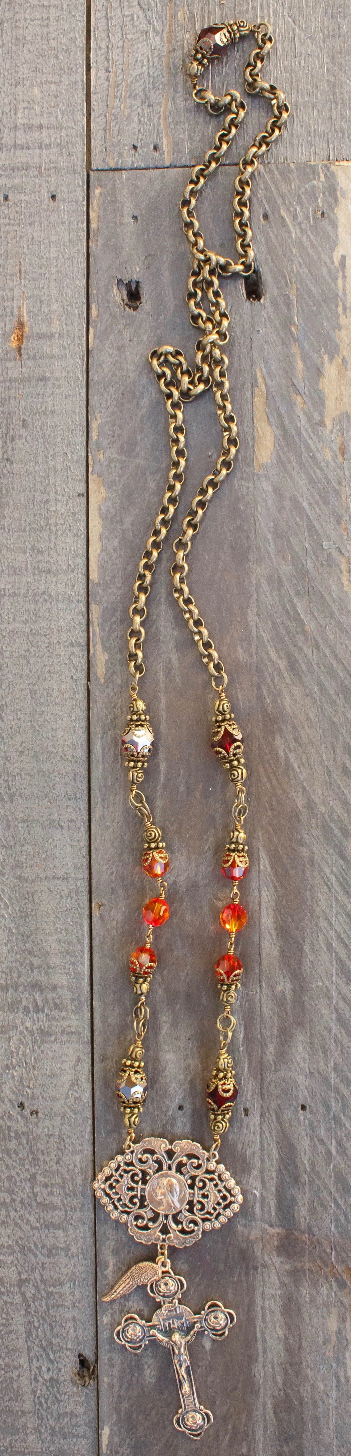 Chain with Red Fire Opal and Garnet Crystal Necklace – 8mm