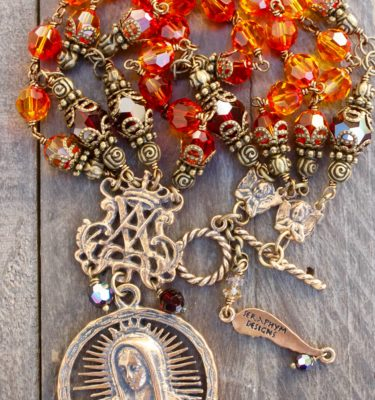 Red Fire Opal and Garnet Crystal Necklace – Our Lady of Guadalupe - 8mm