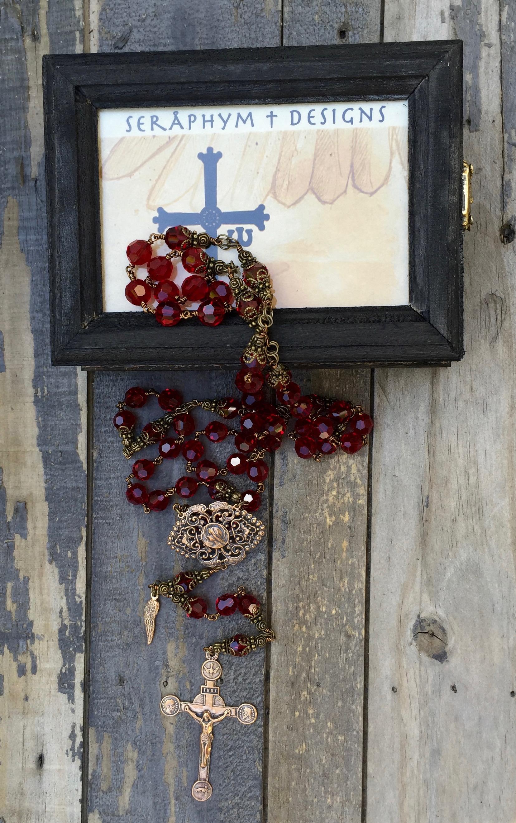 Garnet Crystal Rosary – 10mm