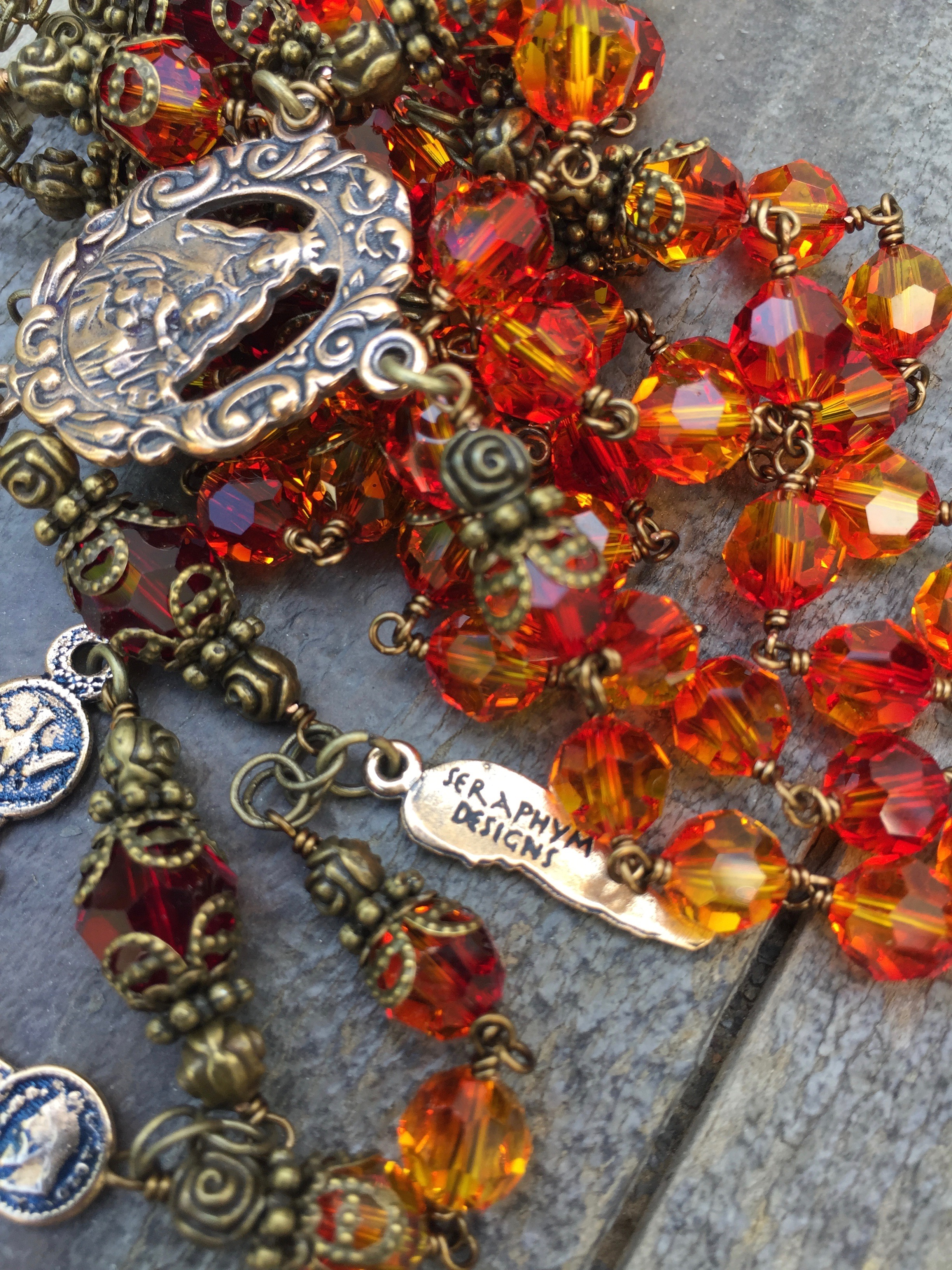 Fire Opal and Garnet Crystal Rosary – 8mm