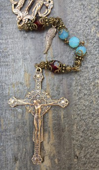 Cloud Blue and Garnet Crystal Rosary – 8mm