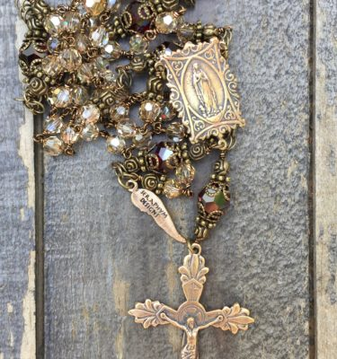 Champagne and Garnet Crystal Rosary – 6mm